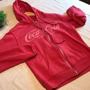CocaCola red full zip hooded top...Large
